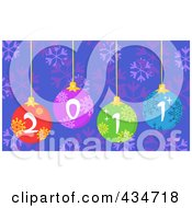 Royalty Free RF Clipart Illustration Of Colorful 2011 New Year Baubles Over Snowflakes