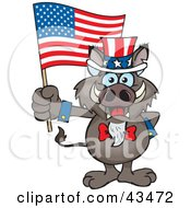 Patriotic Uncle Sam Boar Waving An American Flag On Independence Day