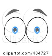 Royalty Free RF Clipart Illustration Of A Surprised Pair Of Blue Eyes