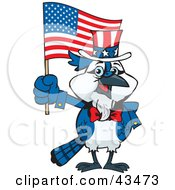 Clipart Illustration Of A Patriotic Uncle Sam Blue Jay Waving An American Flag On Independence Day