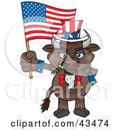 Clipart Illustration Of A Patriotic Uncle Sam Bison Waving An American Flag On Independence Day