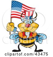 Clipart Illustration Of A Patriotic Uncle Sam Bumble Bee Waving An American Flag On Independence Day