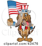 Clipart Illustration Of A Patriotic Uncle Sam Bloodhound Waving An American Flag On Independence Day