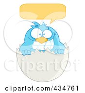 Royalty Free RF Clipart Illustration Of A Blue Bird In An Egg Shell With A Word Balloon