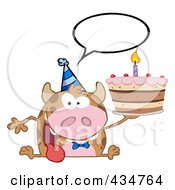 Royalty Free RF Clipart Illustration Of A Happy Cow Holding A Birthday Cake 2