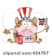 Royalty Free RF Clipart Illustration Of A Patriotic Cow Holding An American Flag 1
