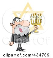 Royalty Free RF Clipart Illustration Of A Rabbi Man Holding Up A Menorah With The Star Of David by Hit Toon