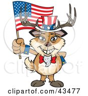 Clipart Illustration Of A Patriotic Uncle Sam Buck Waving An American Flag On Independence Day
