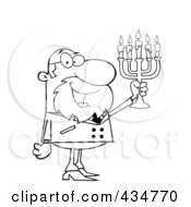 Royalty Free RF Clipart Illustration Of An Outlined Rabbi Man Holding Up A Menorah by Hit Toon