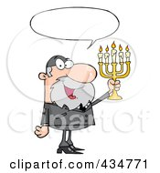 Royalty Free RF Clipart Illustration Of A Rabbi Man Holding Up A Menorah With A Word Balloon