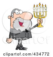 Royalty Free RF Clipart Illustration Of A Rabbi Man Holding Up A Menorah by Hit Toon