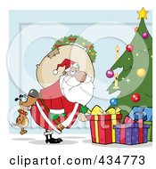 Royalty Free RF Clipart Illustration Of A Dog Biting A Black Santas Butt By A Christmas Tree Over Blue by Hit Toon