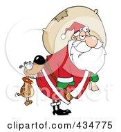 Royalty Free RF Clipart Illustration Of A Dog Biting Santas Butt