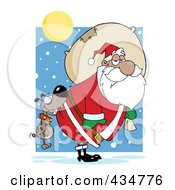 Royalty Free RF Clipart Illustration Of A Dog Biting A Black Santas Butt In The Snow
