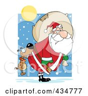 Royalty Free RF Clipart Illustration Of A Dog Biting Santas Butt In The Snow