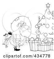 Royalty Free RF Clipart Illustration Of An Outlined Dog Biting Santas Butt By A Christmas Tree by Hit Toon