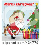 Royalty Free RF Clipart Illustration Of Merry Christmas Text Over A Dog Biting Santas Butt By A Christmas Tree