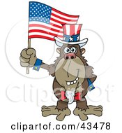 Clipart Illustration Of A Patriotic Uncle Sam Ape Waving An American Flag On Independence Day