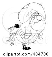 Royalty Free RF Clipart Illustration Of An Outlined Dog Biting Santas Butt