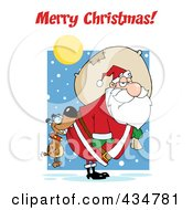 Royalty Free RF Clipart Illustration Of Merry Christmas Text Over A Dog Biting Santas Butt