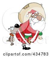 Royalty Free RF Clipart Illustration Of A Dog Biting A Black Santas Butt
