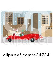 Santa Driving A Red Car In A Snowy City