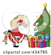 Royalty Free RF Clipart Illustration Of A Dog Biting A Black Santas Butt By A Christmas Tree by Hit Toon