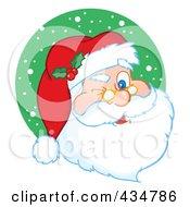 Royalty Free RF Clipart Illustration Of Santa Winking Over A Green Snow Circle