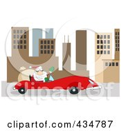 Santa Driving A Red Car In A City
