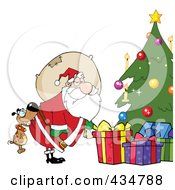 Royalty Free RF Clipart Illustration Of A Dog Biting Santas Butt By A Christmas Tree by Hit Toon