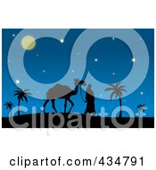 Royalty Free RF Clipart Illustration Of A Silhouetted Man Walking A Camel On A Desert Night