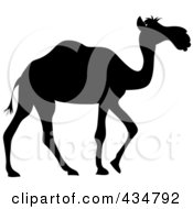 Royalty Free RF Clipart Illustration Of A Black Silhouetted Walking Camel by Pams Clipart