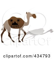 Royalty Free RF Clipart Illustration Of A Brown Silhouetted Egypt Camel And Shadow by Pams Clipart