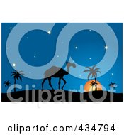 Royalty Free RF Clipart Illustration Of A Silhouetted Camel And Walking Against A Desert Sunset by Pams Clipart