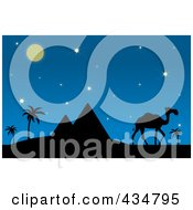 Royalty Free RF Clipart Illustration Of A Silhouetted Camel And Walking Near Pyramids On A Desert Night by Pams Clipart