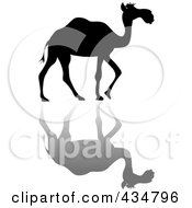 Royalty Free RF Clipart Illustration Of A Black Silhouetted Walking Camel And Shadow by Pams Clipart