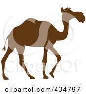 Royalty Free RF Clipart Illustration Of A Brown Silhouetted Walking Camel by Pams Clipart