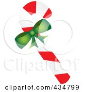 Royalty Free RF Clipart Illustration Of A Peppermint Candy Cane With A Green Bow