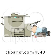 Repairman Trying To Fix A Broken Copy Machine Clipart