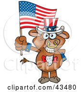 Clipart Illustration Of A Patriotic Uncle Sam Bull Waving An American Flag On Independence Day by Dennis Holmes Designs