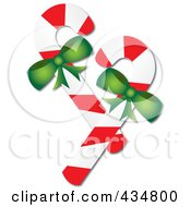 Royalty Free RF Clipart Illustration Of Two Peppermint Candy Canes With Green Bows by Pams Clipart