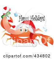 Royalty Free RF Clipart Illustration Of A Festive Crab Wearing A Santa Hat And Holding A Christmas Candy Cane With Happy Holidays Text by Pams Clipart
