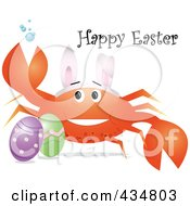 Festive Crab Wearing Bunny Ears By Easter Eggs With Happy Easter Text