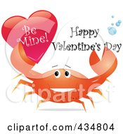 Royalty Free RF Clipart Illustration Of A Festive Crab Holding Up A Be Mine Heart With Happy Valentines Day Text