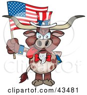 Clipart Illustration Of A Patriotic Uncle Sam Steer Waving An American Flag On Independence Day by Dennis Holmes Designs