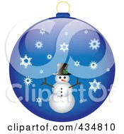 Royalty Free RF Clipart Illustration Of A Shiny Blue Snowman Christmas Bauble by Pams Clipart
