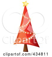 Royalty Free RF Clipart Illustration Of A Shiny Red Christmas Tree With A Star Garland by Pams Clipart