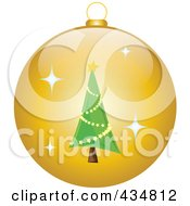 Royalty Free RF Clipart Illustration Of A Shiny Yellow Christmas Tree Bauble by Pams Clipart