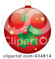 Royalty Free RF Clipart Illustration Of A Shiny Red Holly Christmas Bauble by Pams Clipart