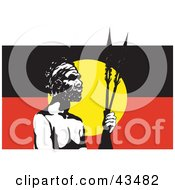 Clipart Illustration Of A Tribal Man Standing In Front Of An Australian Aboriginal Flag